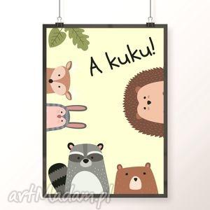 Plakat A KUKU, plakat, obrazek, zwierzaki, kuku, dzieci