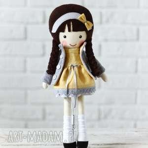 handmade lalki malowana lala mela w lnianej sukience