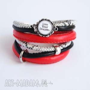 bransoletka - live your dreams owijana, czerwona, czarna, biała