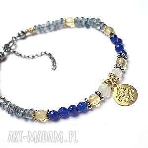 blue and navy -bransoletka, srebro, pozłacane, kwarc, cytryn, kamieńksiężycowy