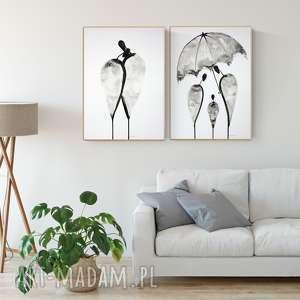 zestaw 2 grafik 50 x 70 cm malowany ręcznie, plakat, abstrakcja, obraz-malowany