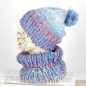 czapki ciepła czapka z kominem wełna, czapka, komin, zestaw, ciepła, pompon