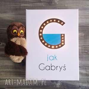 świecąca litera g z imieniem prezent lampka obraz, prezent, litera, dziecko