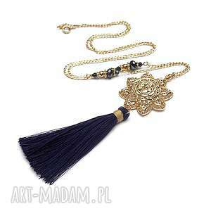 handmade naszyjniki boho /navy rosette /04 -04 -18/ - naszyjnik