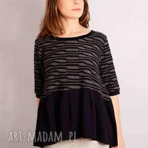czarno szara bluzka z falbanką, czarnoszara, wypukły, wzorek, ciążowa, marszczona
