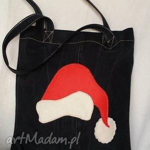 eko torba z czapką św mikołaja, torba, bawełniana, jeans, recykling