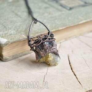 ręcznie zrobione naszyjniki cytryn w miedzi - naszyjnik z surowym wisiorem