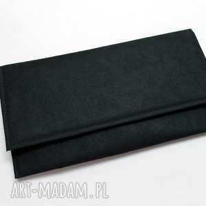Kopertówka - zamsz czarny, elegancka, nowoczesna, wieczorowa, wizytowa, wesele