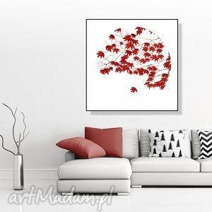 w jesiennym listowiu... 30x30 cm., liście, grafika, kwadrat, 30x30, plakat, natura