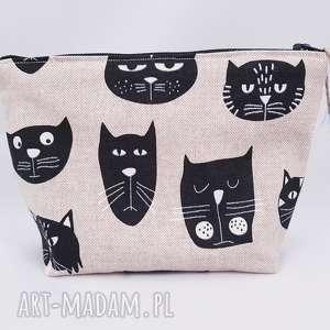 kosmetyczka lniana koty - ,kosmetyczka,koty,kotki,kot,saszetka,organizer,
