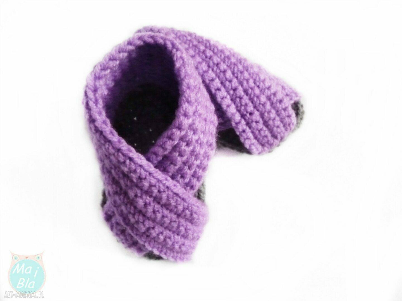 szydełkowe buciki sandałki fioletowe