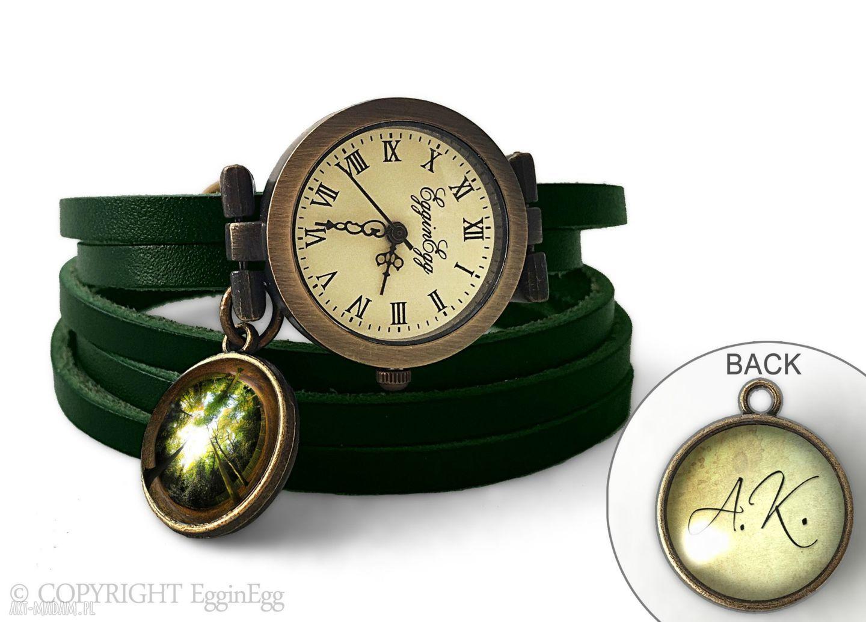 hand made zegarki zegarek z dwustronną zawieszką las, 0119swgr6