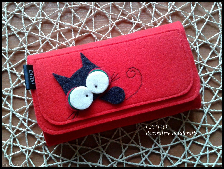 ręcznie robione portfele duzy portfel z kotkiem