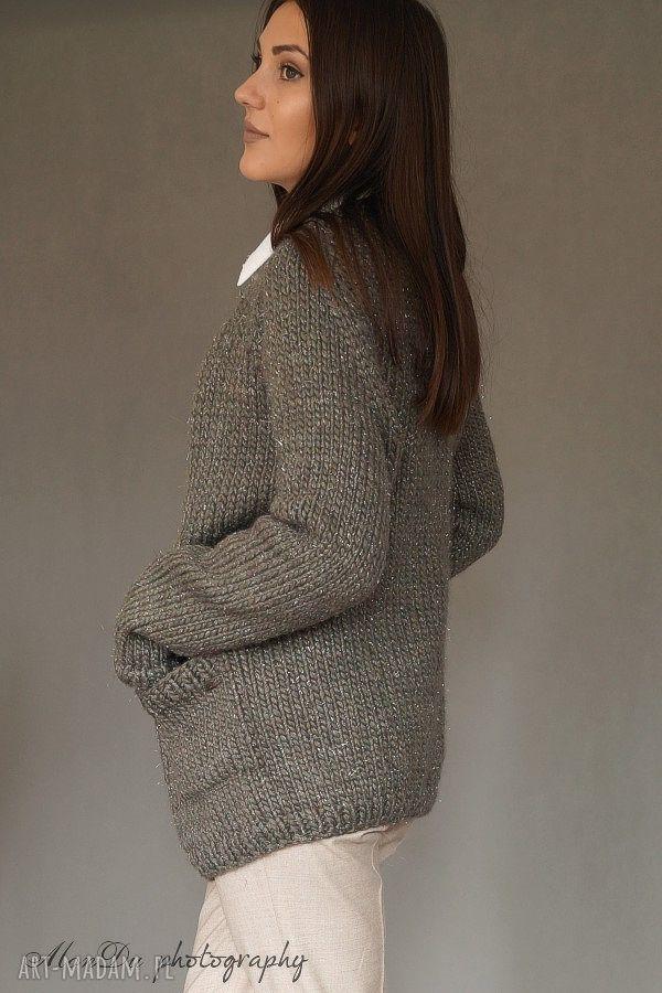 swetry sweter kardigan z metaliczną nitką