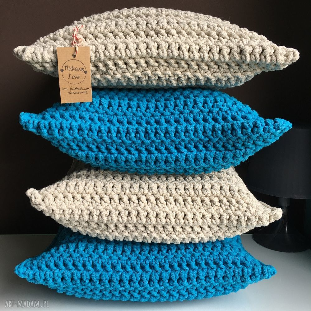 niepowtarzalne poduszki poszewka poduszka ze sznurka bawełnianego