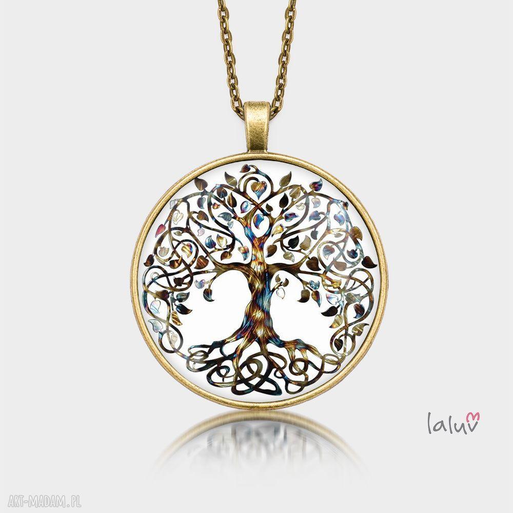ręcznie robione naszyjniki medalion okrągły drzewo życia