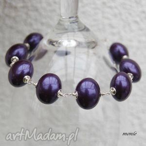 Śliwka w srebrze, fioletowa bransoletka - ,perły,bransoletka,srebro,biżuteria,