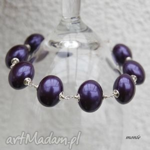 śliwka w srebrze fioletowa bransoletka monle - biżuteria, perły