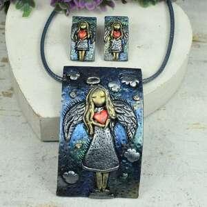 anioł z sercem - komplet biżuterii naszyjnik i kolczyki wkrętki, biżuteria