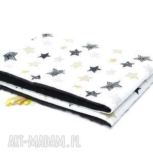 KOCYK KOŁDERKA 75x100 minky bawełna czarne gwiazdki/czarny, kocyk, koc, kołderka