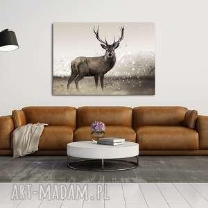ludesign gallery obraz na płótnie 100x70cm jeleń w naturze 021, obraz, płótno