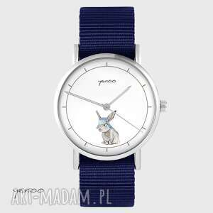 zegarki zegarek yenoo - zając granatowy, nato, zegarek, bransoletka, nato