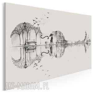 obraz na płótnie - gitara para czarno-biały 120x80 cm (62702)