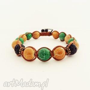 brown and green, bransoleta, męska, unisex, makrama, zkoralików, wyjątkowy prezent