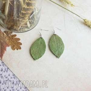 kolczyki zielone liście, kolczyki, wiszące
