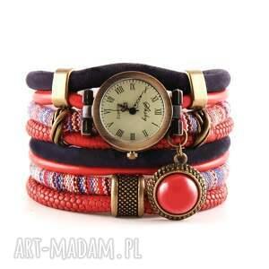 handmade zegarki zegarek-bransoletka w stylu boho, czerwono - granatowy
