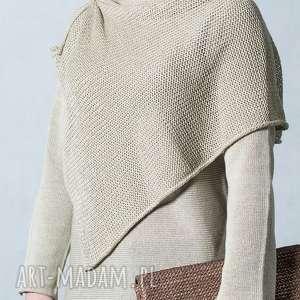 beżowy sweter z szalem, damski, bawełniany, bluzka damska