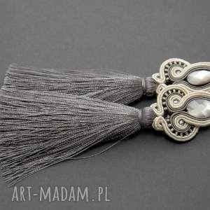 klipsy sutasz z muszlami, sznurek, eleganckie, wiszące, wieczorowe, długie