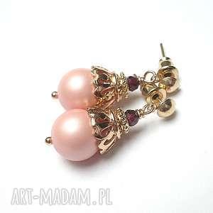 Pink powder pearls /29-03-18/ - kolczyki, perły, seashell, granaty