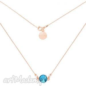 Naszyjnik z różowego złota turkusowym kryształem swarovski®