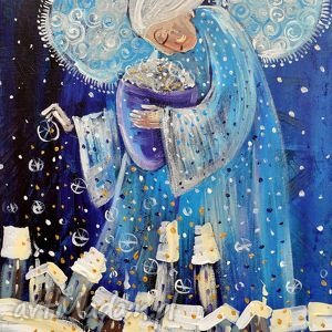 Śnieg nad miastem - śnieg, zima, anioł, śnieżyca, miasto, prezent