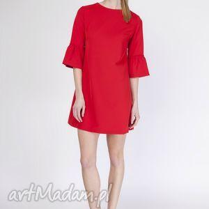 Trapezowa sukienka, SUK136 czerwony, trapezowa, falbany, rękawy, modna