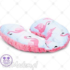 poduszka podróżna minky rogal zagłówek do fotelika rogalik - flamingi w sorbecie