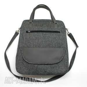 torebka listonoszka - tkanina antracyt i skóra stalowa, elegancka, nowoczesna