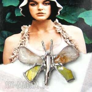 wisiorek cytrynowy motyl malowany, motyl, cytryn, z cytrynem, malowany