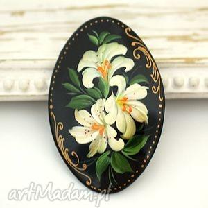 madamlili ♥ręcznie malowana drewniana - vintage, artysta, broszka