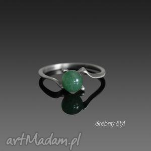 szczypta zieleni srebrny styl - srebrne pierścionki, minimalistyczny