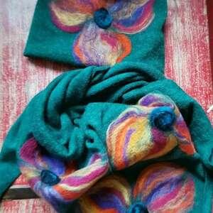ręcznie robione chustki i apaszki komplet wełniany turkus wełna merynosy kwiaty