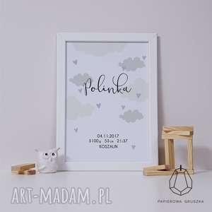 metryczka chmurki fioletowe serduszka - metryczka, plakat, obrazek, prezent, chrzest