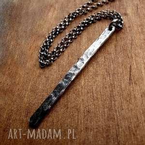 naszyjnik z soplekiem fakturowanym- srebro pr 925 - modny, codzienny, młotkowany