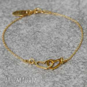 ręcznie wykonane bransoletka pozłacana dwa serca