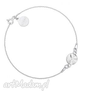 srebrna bransoletka z bezbarwnym kryształem swarovski® - blogerski