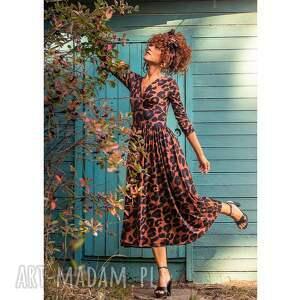 sukienki amelia - panterka rozkloszowana sukienka, wieczorowa, koktajlowa
