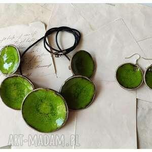 komplet etno zieleńwielkanocna naszyjnik kolczyki, ceramika, naszyjnik, kolczyki