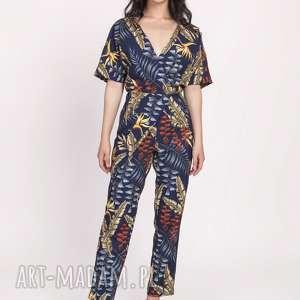 ubrania kombinezon damski z ozdobnymi zakładkami, kb114 liście granat, print