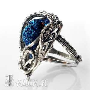 miechunka blue alien i srebrny pierścień z kwarcem tytanowym, pierścionek